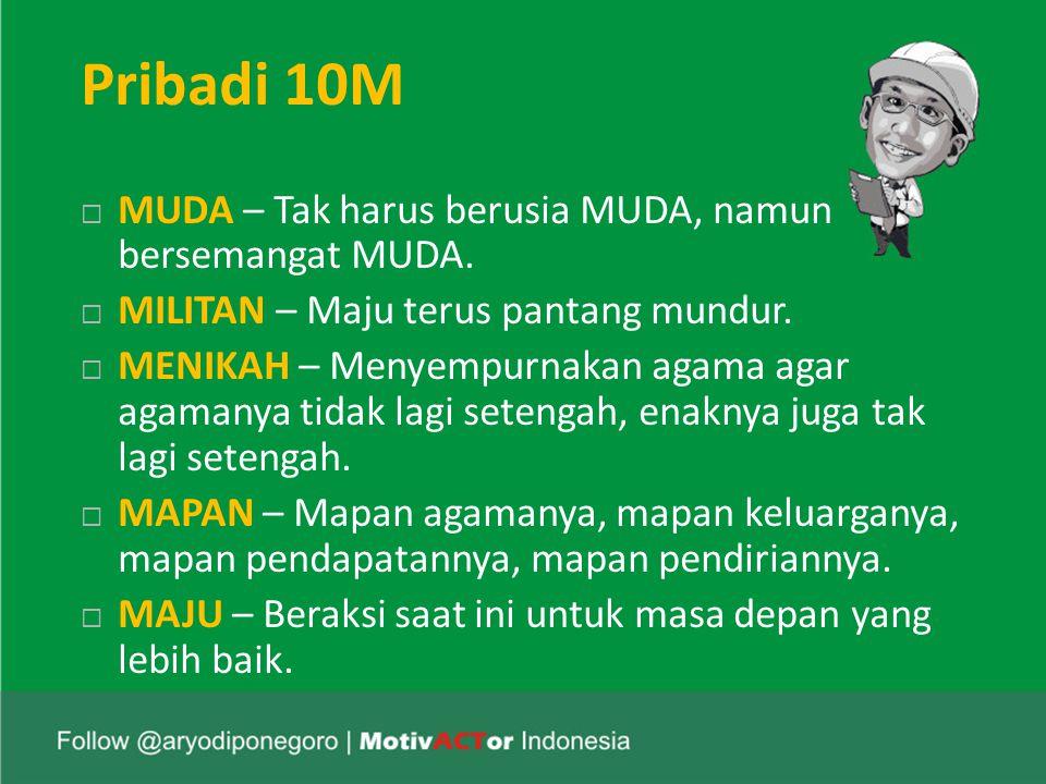 Pribadi 10M  MUDA – Tak harus berusia MUDA, namun bersemangat MUDA.