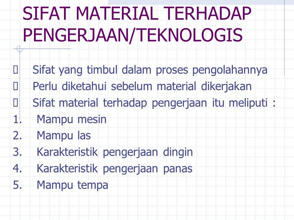SIFAT MATERIAL TERHADAP PENGERJAAN/TEKNOLOGIS  Sifat yang timbul dalam proses pengolahannya  Perlu diketahui sebelum material dikerjakan  Sifat material terhadap pengerjaan itu meliputi : 1.