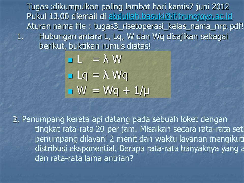 1.Hubungan antara L, Lq, W dan Wq disajikan sebagai berikut, buktikan rumus diatas!  L = λ W  Lq= λ Wq  W= Wq + 1/µ Tugas :dikumpulkan paling lamba