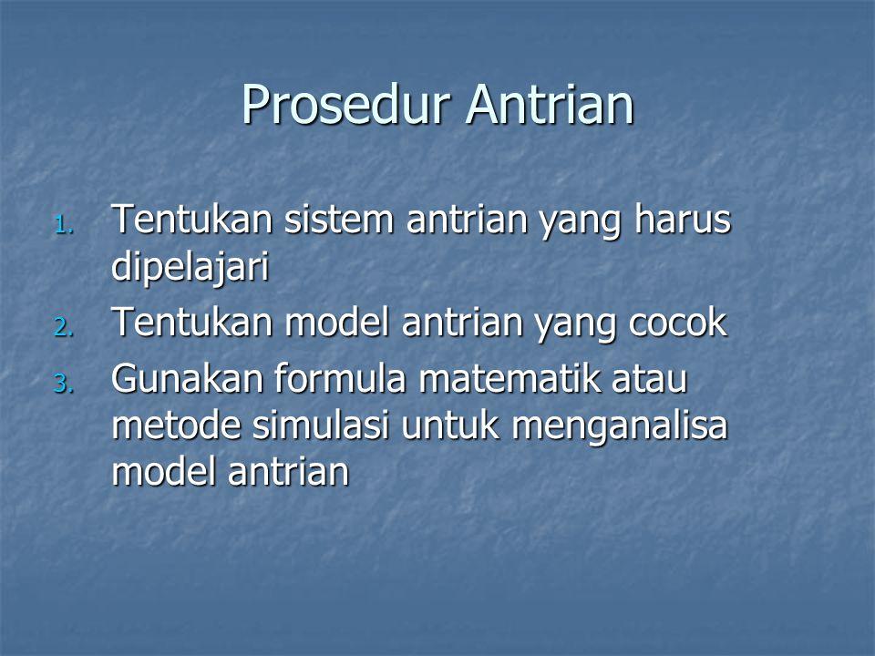 Prosedur Antrian 1. Tentukan sistem antrian yang harus dipelajari 2. Tentukan model antrian yang cocok 3. Gunakan formula matematik atau metode simula