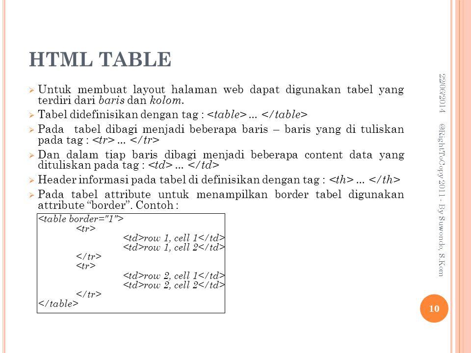 HTML TABLE  Untuk membuat layout halaman web dapat digunakan tabel yang terdiri dari baris dan kolom.
