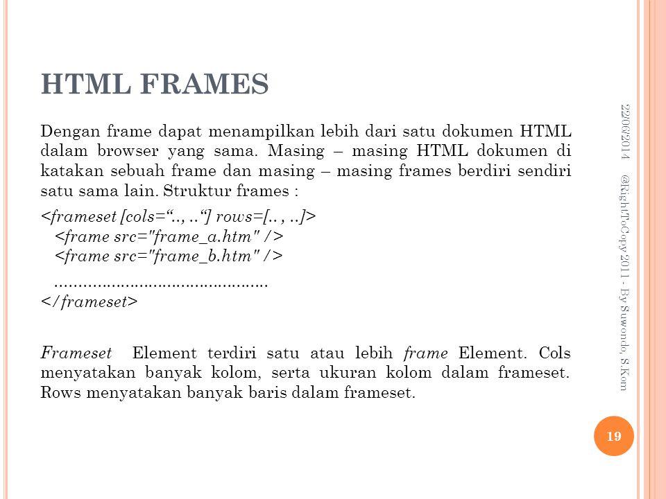 HTML FRAMES Dengan frame dapat menampilkan lebih dari satu dokumen HTML dalam browser yang sama.