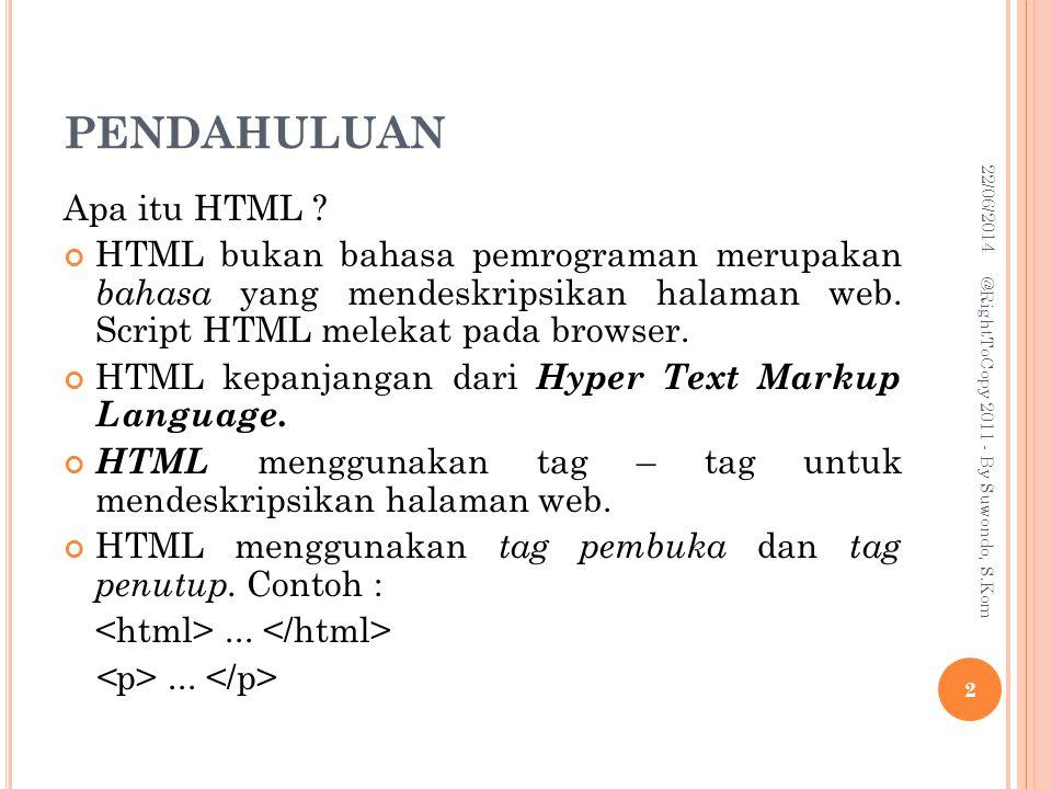 PENDAHULUAN Contoh script HTML sederhana : My First Heading My first paragraph.