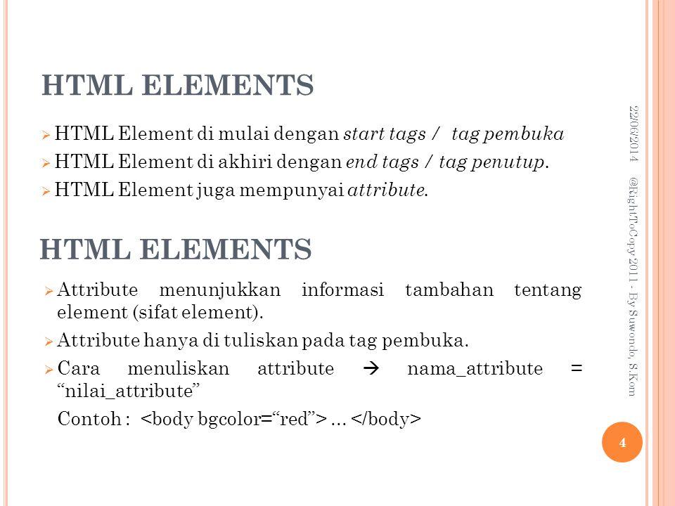 HTML ELEMENTS  HTML Element di mulai dengan start tags / tag pembuka  HTML Element di akhiri dengan end tags / tag penutup.