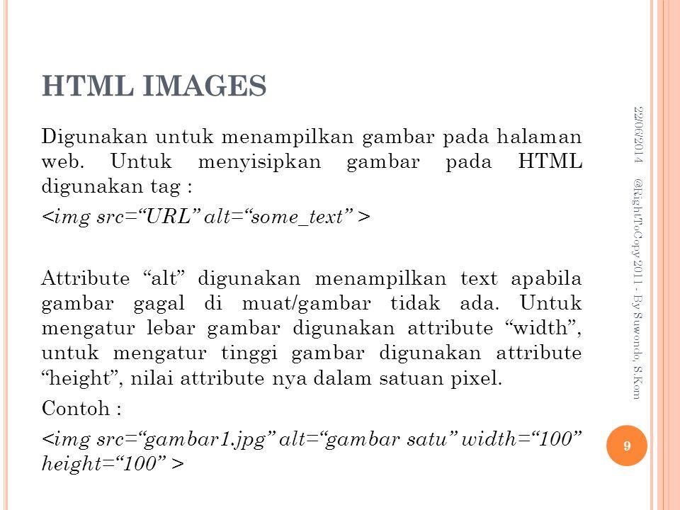 HTML IMAGES Digunakan untuk menampilkan gambar pada halaman web.