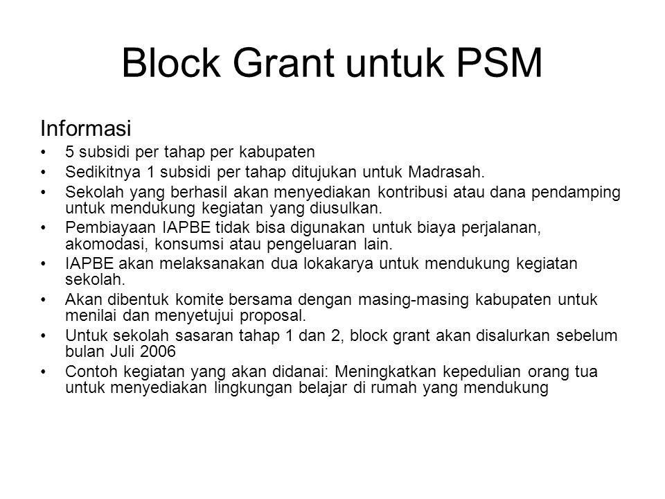 Block Grant untuk PSM Informasi •5 subsidi per tahap per kabupaten •Sedikitnya 1 subsidi per tahap ditujukan untuk Madrasah. •Sekolah yang berhasil ak