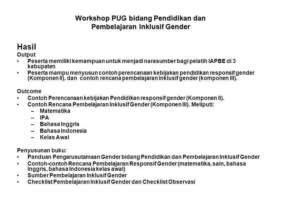 Workshop PUG bidang Pendidikan dan Pembelajaran Inklusif Gender Hasil Output •Peserta memiliki kemampuan untuk menjadi narasumber bagi pelatih IAPBE d