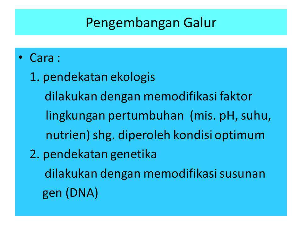 Pengembangan Galur • Cara : 1. pendekatan ekologis dilakukan dengan memodifikasi faktor lingkungan pertumbuhan (mis. pH, suhu, nutrien) shg. diperoleh