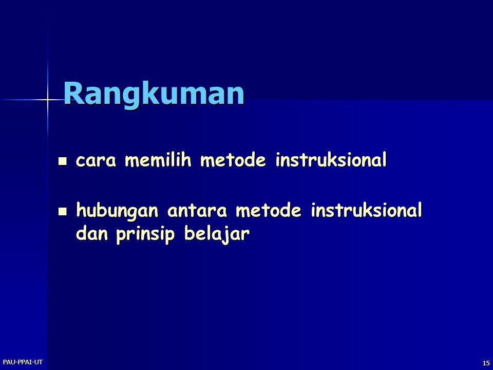 PAU-PPAI-UT 15 Rangkuman  cara memilih metode instruksional  hubungan antara metode instruksional dan prinsip belajar