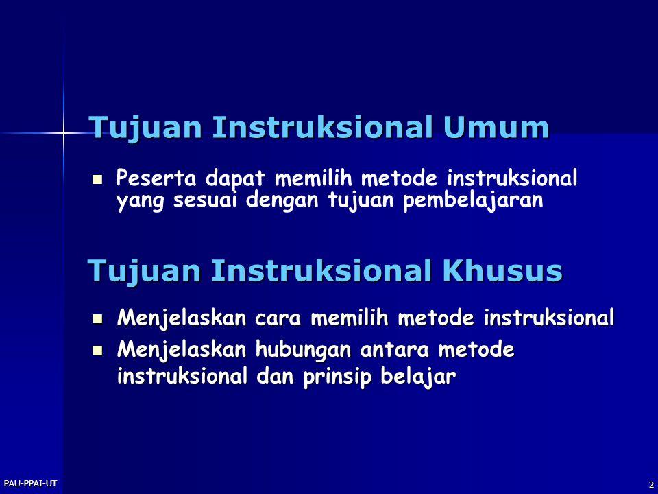2 Tujuan Instruksional Umum   Peserta dapat memilih metode instruksional yang sesuai dengan tujuan pembelajaran Tujuan Instruksional Khusus  Menjel