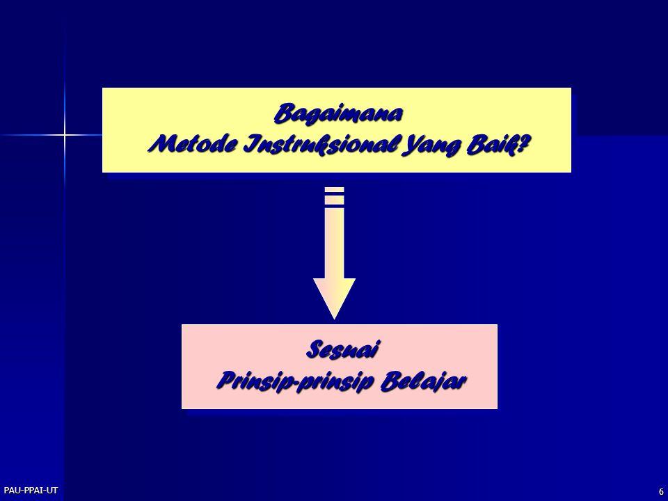 PAU-PPAI-UT 6 Bagaimana Metode Instruksional Yang Baik? Sesuai Prinsip-prinsip Belajar