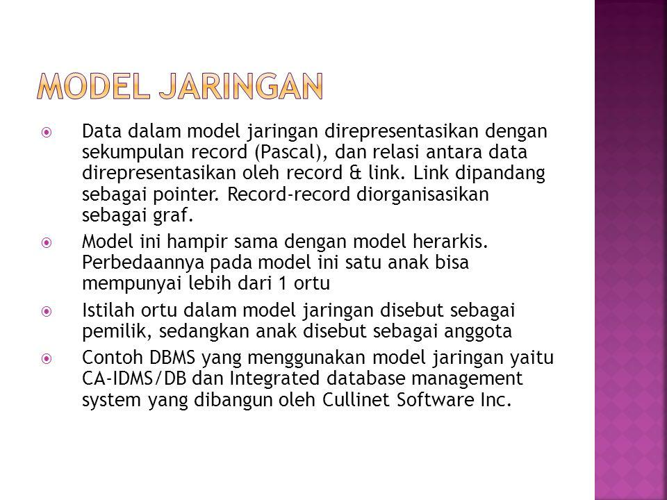 Data dalam model jaringan direpresentasikan dengan sekumpulan record (Pascal), dan relasi antara data direpresentasikan oleh record & link.