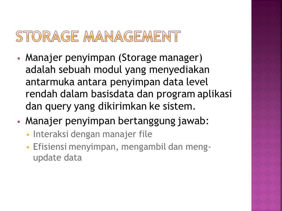  Manajer penyimpan (Storage manager) adalah sebuah modul yang menyediakan antarmuka antara penyimpan data level rendah dalam basisdata dan program aplikasi dan query yang dikirimkan ke sistem.