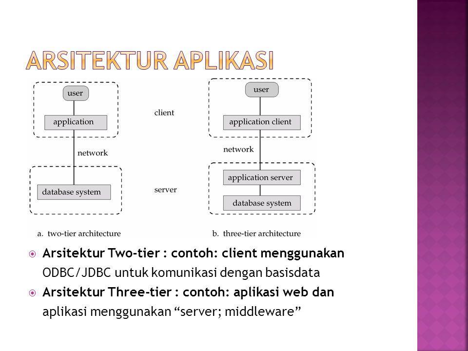  Arsitektur Two-tier : contoh: client menggunakan ODBC/JDBC untuk komunikasi dengan basisdata  Arsitektur Three-tier : contoh: aplikasi web dan aplikasi menggunakan server; middleware