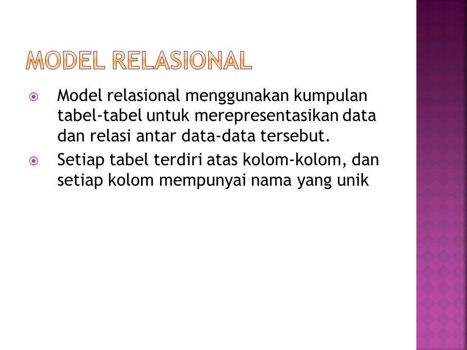  Model relasional menggunakan kumpulan tabel-tabel untuk merepresentasikan data dan relasi antar data-data tersebut.