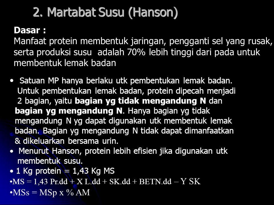 2. Martabat Susu (Hanson) Dasar : Manfaat protein membentuk jaringan, pengganti sel yang rusak, serta produksi susu adalah 70% lebih tinggi dari pada