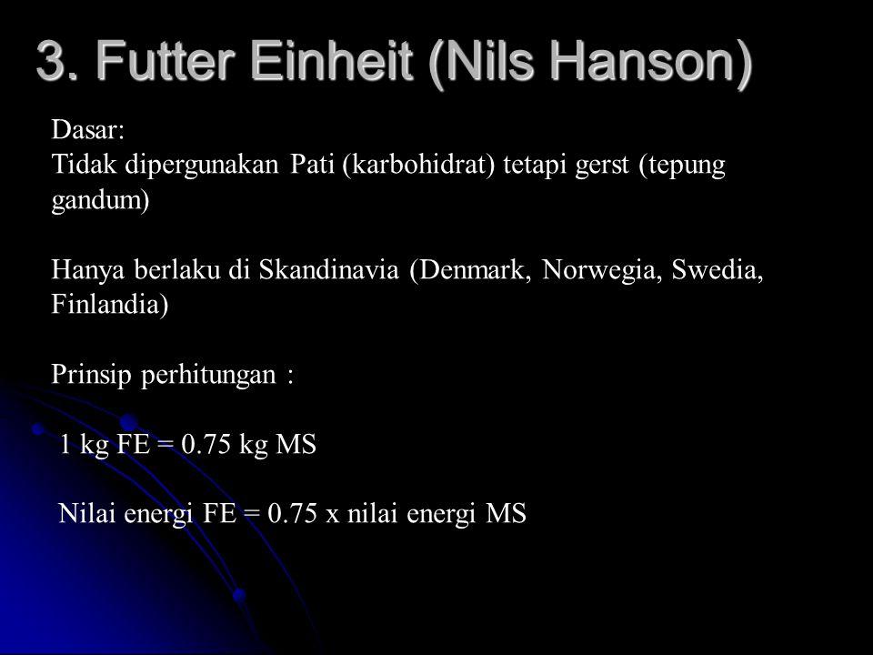 3. Futter Einheit (Nils Hanson) Dasar: Tidak dipergunakan Pati (karbohidrat) tetapi gerst (tepung gandum) Hanya berlaku di Skandinavia (Denmark, Norwe