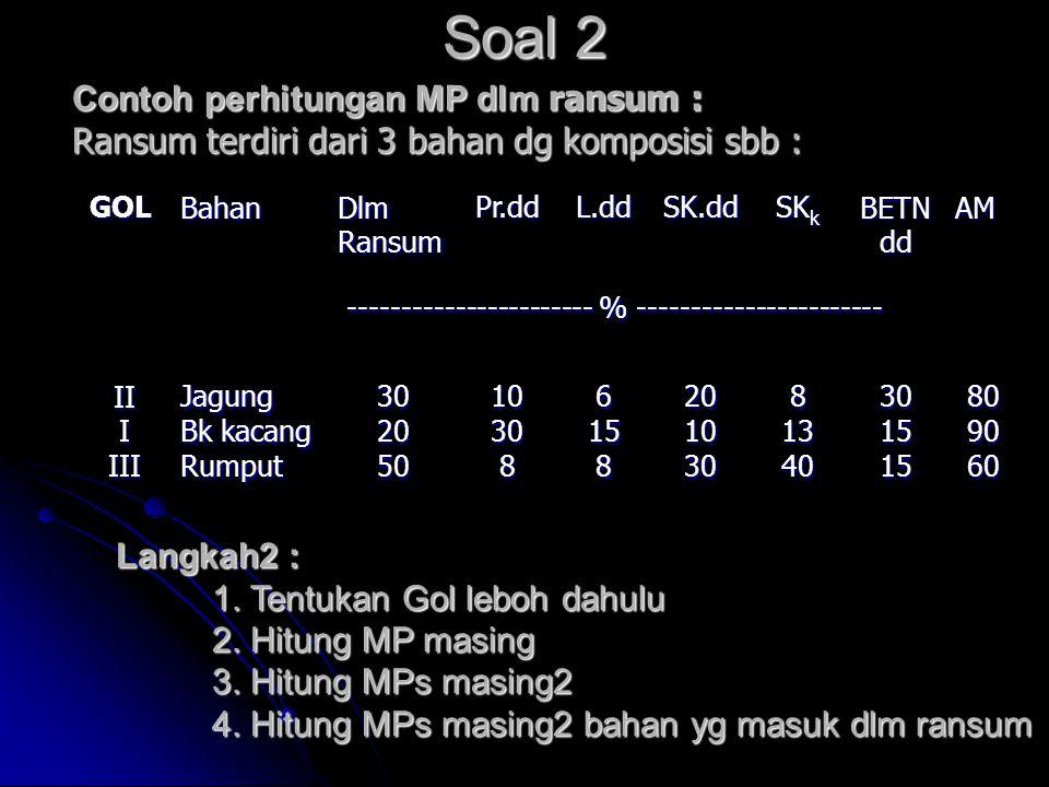 Soal 2 Contoh perhitungan MP dlm ransum : Ransum terdiri dari 3 bahan dg komposisi sbb : GOLBahanDlmRansumPr.ddL.ddSK.dd SK k BETN dd AM -------------