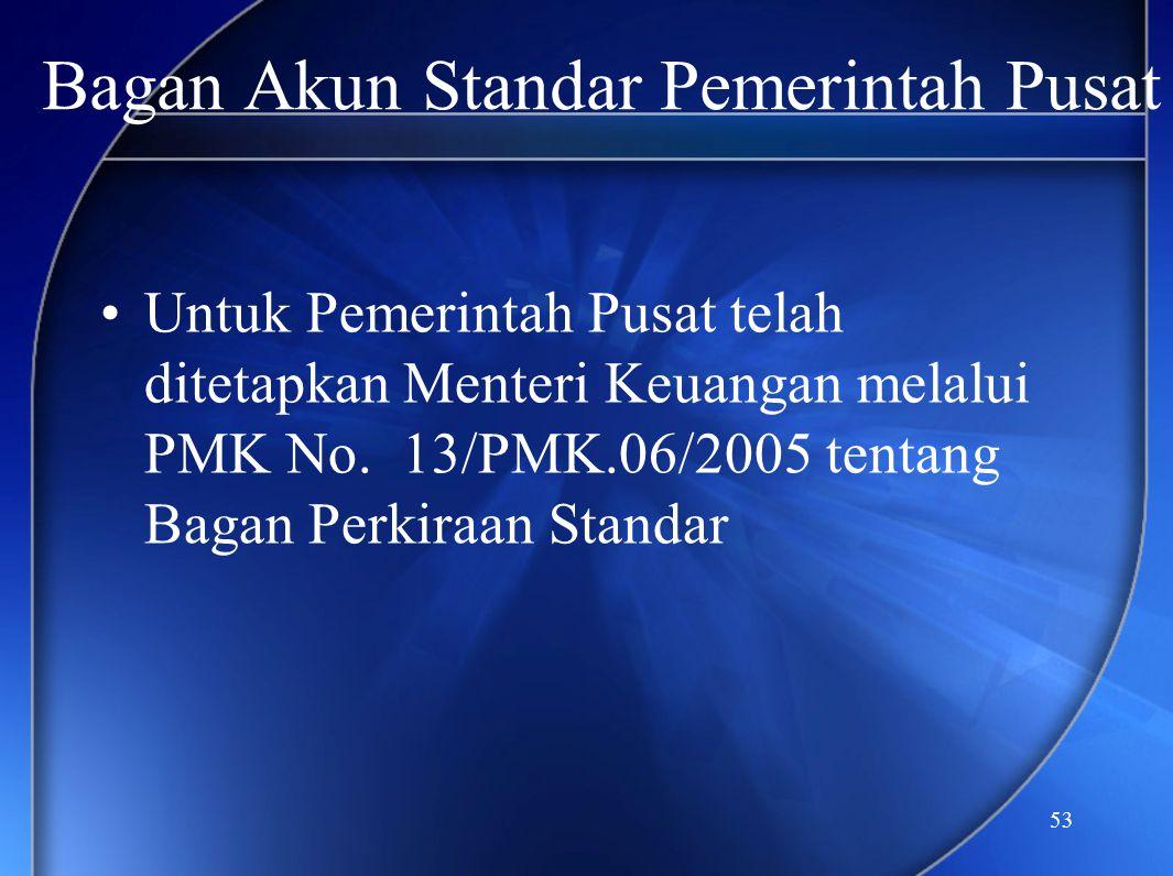 53 •Untuk Pemerintah Pusat telah ditetapkan Menteri Keuangan melalui PMK No. 13/PMK.06/2005 tentang Bagan Perkiraan Standar Bagan Akun Standar Pemerin
