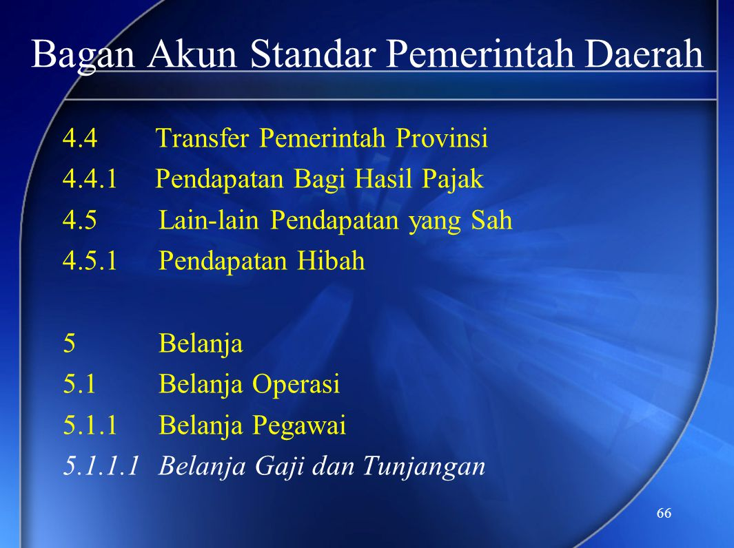 66 Bagan Akun Standar Pemerintah Daerah 4.4 Transfer Pemerintah Provinsi 4.4.1 Pendapatan Bagi Hasil Pajak 4.5Lain-lain Pendapatan yang Sah 4.5.1Penda
