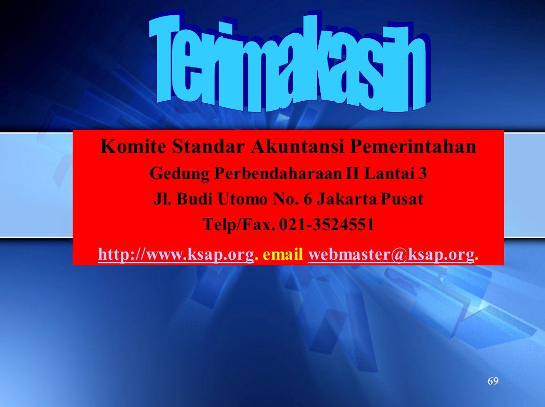69 Komite Standar Akuntansi Pemerintahan Gedung Perbendaharaan II Lantai 3 Jl. Budi Utomo No. 6 Jakarta Pusat Telp/Fax. 021-3524551 http://www.ksap.or