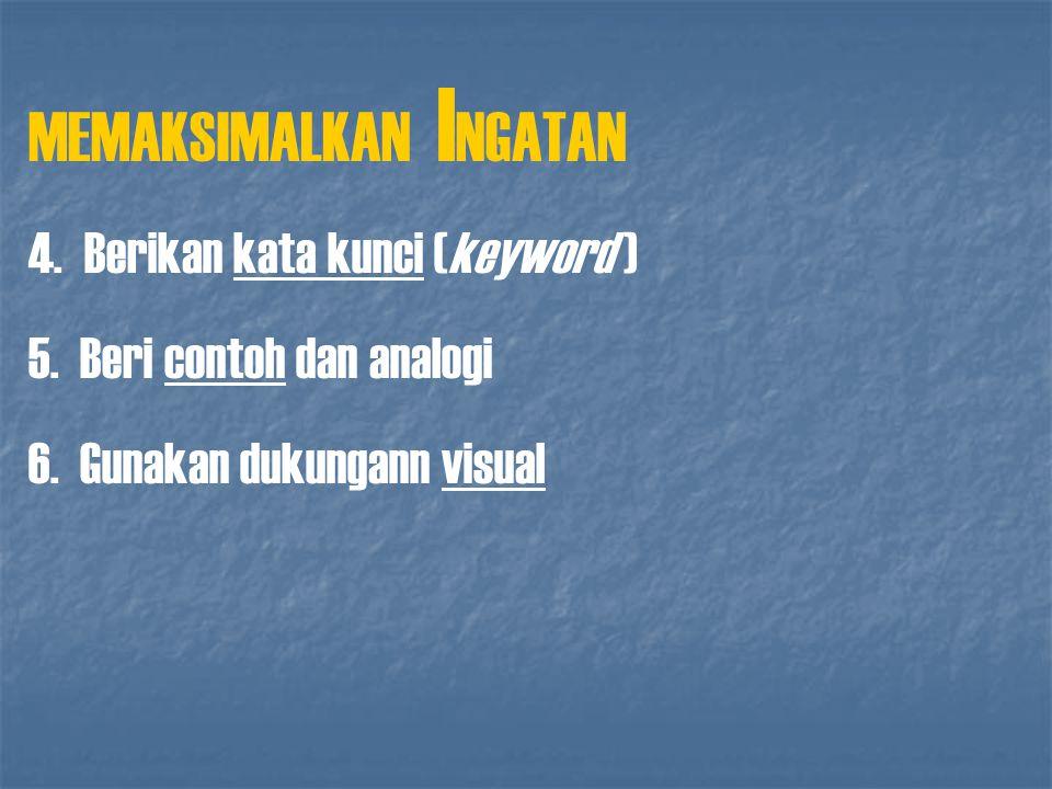 MEMAKSIMALKAN I NGATAN 4. Berikan kata kunci (keyword ) 5. Beri contoh dan analogi 6. Gunakan dukungann visual