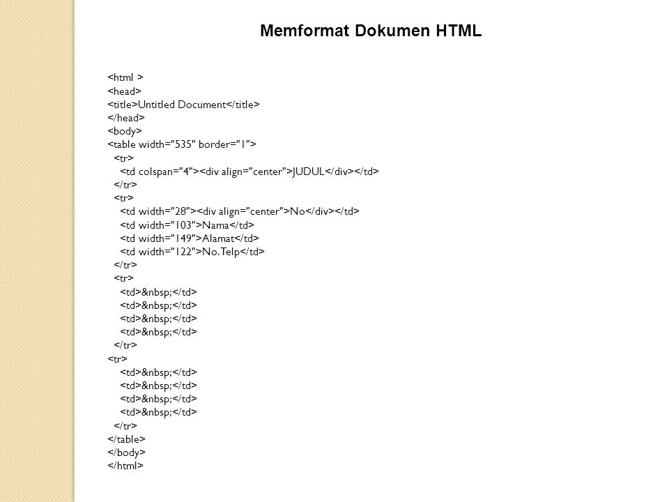 Memformat Dokumen HTML Untitled Document JUDUL No Nama Alamat No. Telp