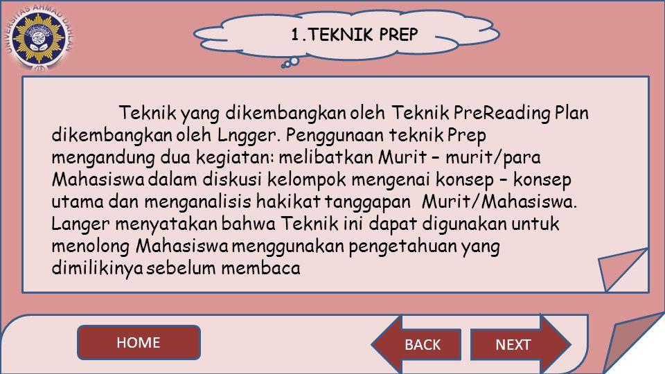 1.TEKNIK PREP Teknik yang dikembangkan oleh Teknik PreReading Plan dikembangkan oleh Lngger. Penggunaan teknik Prep mengandung dua kegiatan: melibatka