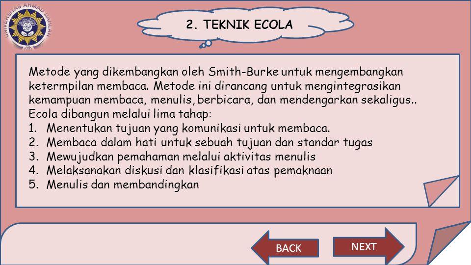 2. TEKNIK ECOLA Metode yang dikembangkan oleh Smith-Burke untuk mengembangkan ketermpilan membaca. Metode ini dirancang untuk mengintegrasikan kemampu