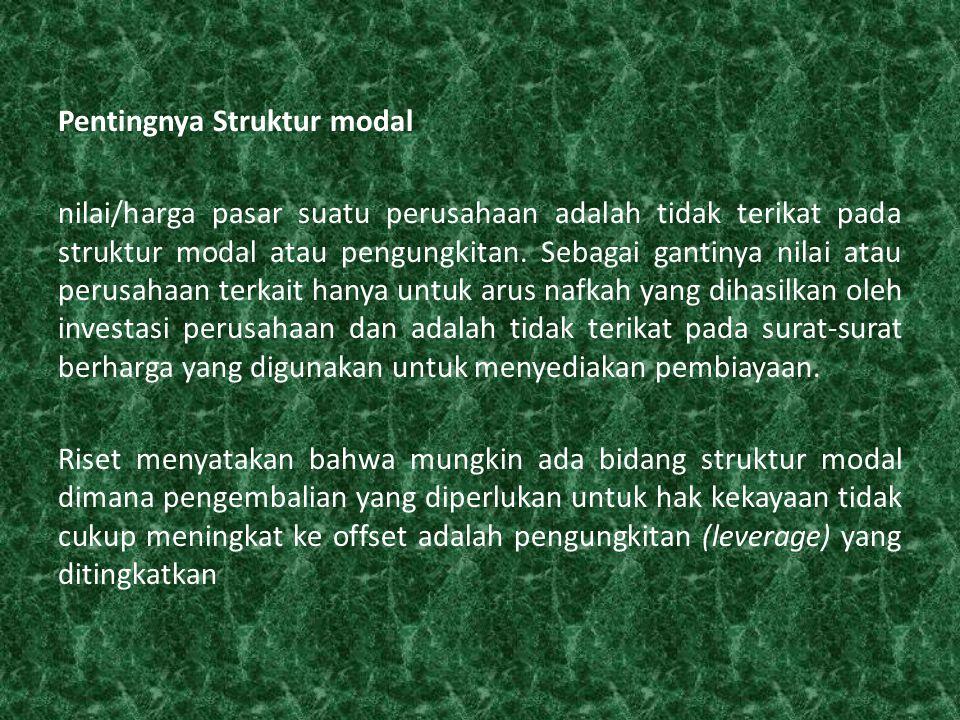 Pentingnya Struktur modal nilai/harga pasar suatu perusahaan adalah tidak terikat pada struktur modal atau pengungkitan.