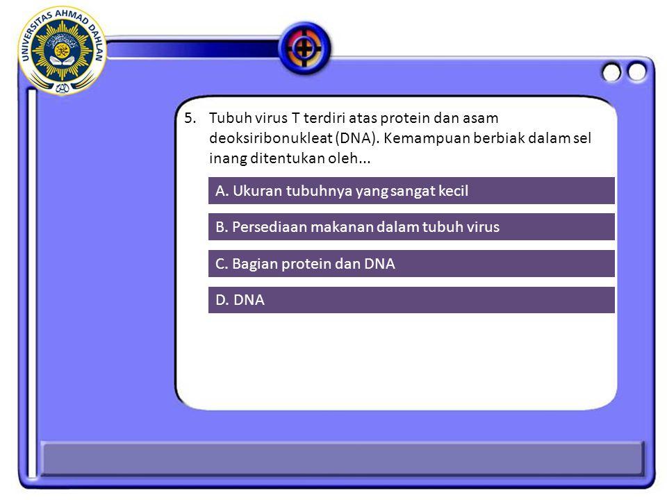 5.Tubuh virus T terdiri atas protein dan asam deoksiribonukleat (DNA).