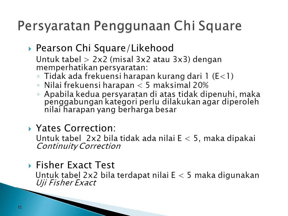  Pearson Chi Square/Likehood Untuk tabel > 2x2 (misal 3x2 atau 3x3) dengan memperhatikan persyaratan: ◦ Tidak ada frekuensi harapan kurang dari 1 (E<