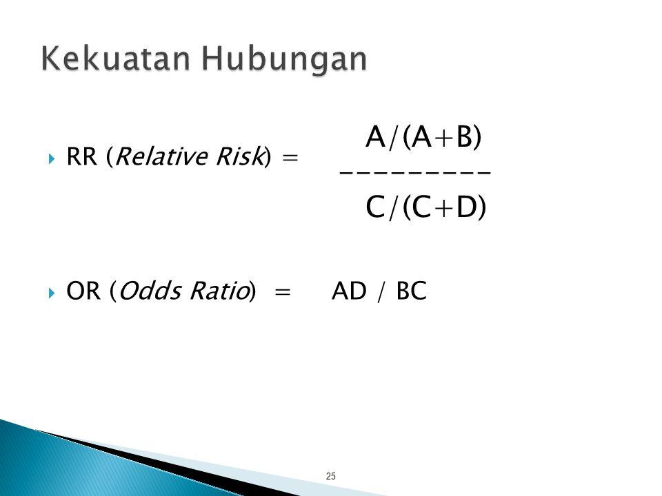  RR (Relative Risk) =  OR (Odds Ratio) = AD / BC 25 A/(A+B) --------- C/(C+D)