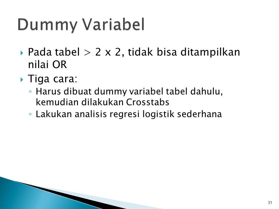  Pada tabel > 2 x 2, tidak bisa ditampilkan nilai OR  Tiga cara: ◦ Harus dibuat dummy variabel tabel dahulu, kemudian dilakukan Crosstabs ◦ Lakukan analisis regresi logistik sederhana 31