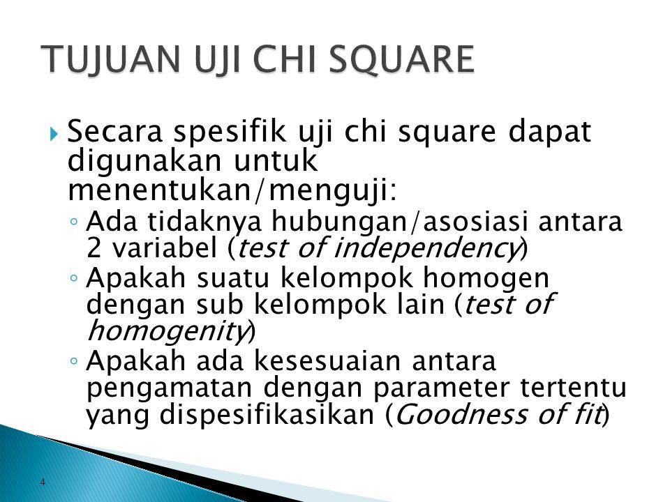  Secara spesifik uji chi square dapat digunakan untuk menentukan/menguji: ◦ Ada tidaknya hubungan/asosiasi antara 2 variabel (test of independency) ◦ Apakah suatu kelompok homogen dengan sub kelompok lain (test of homogenity) ◦ Apakah ada kesesuaian antara pengamatan dengan parameter tertentu yang dispesifikasikan (Goodness of fit) 4