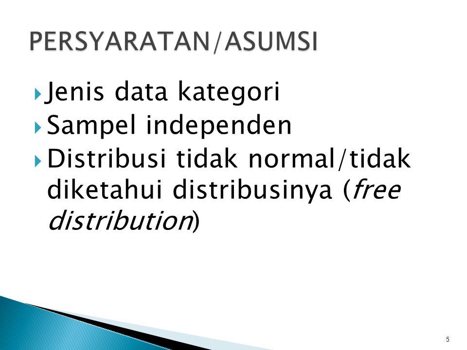  Jenis data kategori  Sampel independen  Distribusi tidak normal/tidak diketahui distribusinya (free distribution) 5