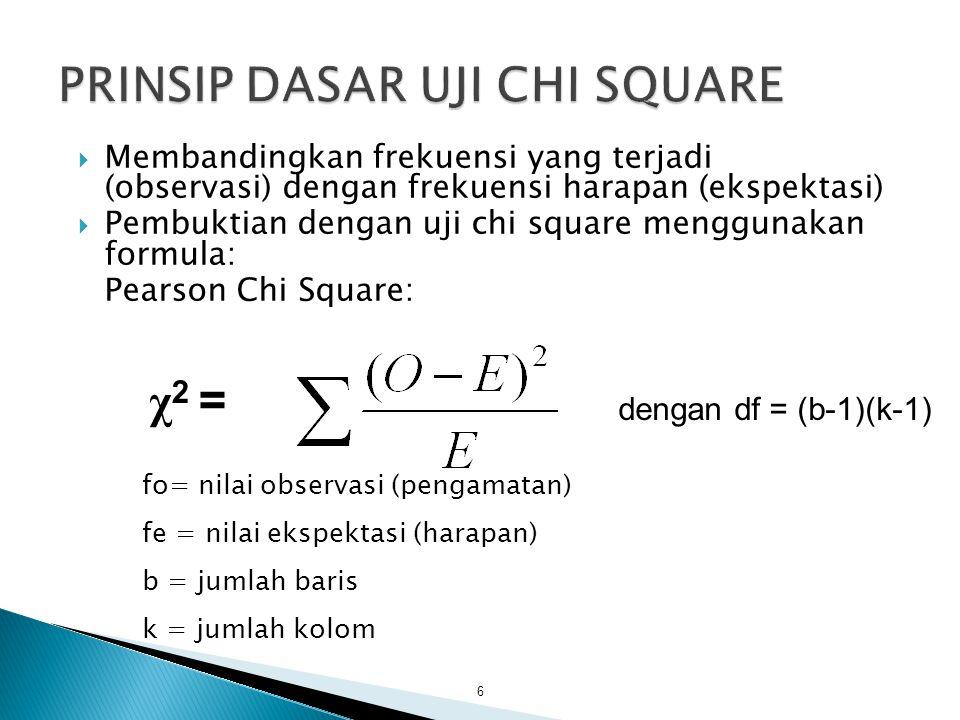  Membandingkan frekuensi yang terjadi (observasi) dengan frekuensi harapan (ekspektasi)  Pembuktian dengan uji chi square menggunakan formula: Pearson Chi Square: 6 dengan df = (b-1)(k-1) fo= nilai observasi (pengamatan) fe = nilai ekspektasi (harapan) b = jumlah baris k = jumlah kolom χ 2 =