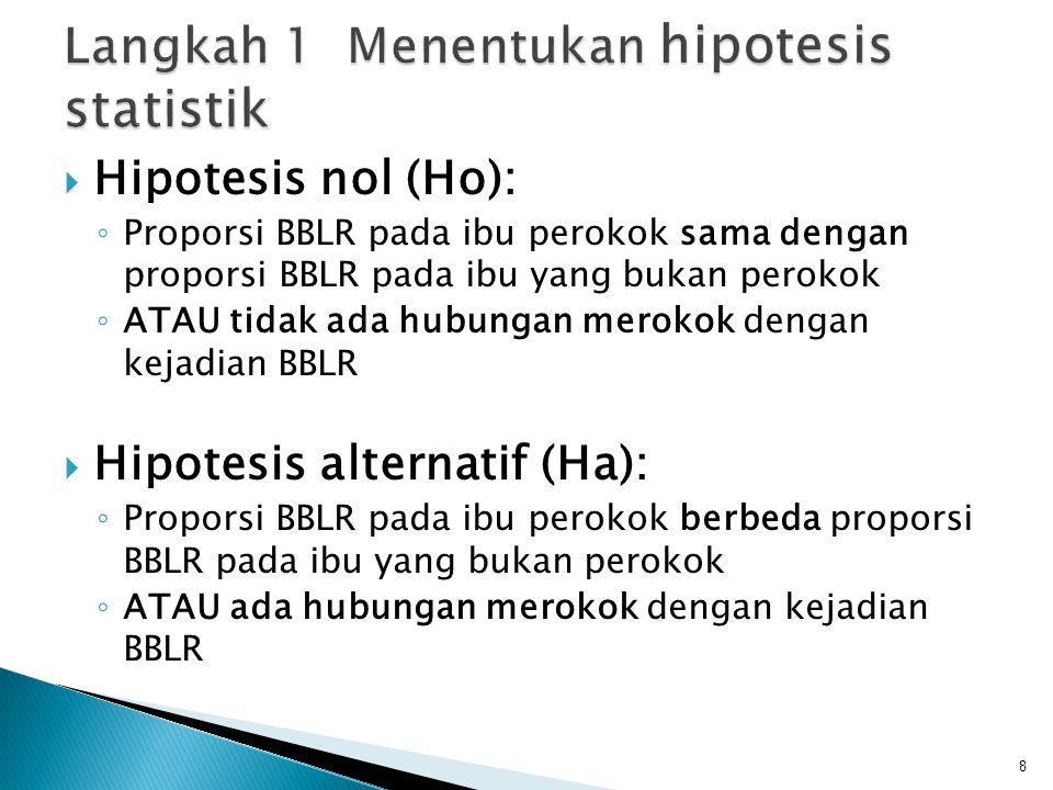  Hipotesis nol (Ho): ◦ Proporsi BBLR pada ibu perokok sama dengan proporsi BBLR pada ibu yang bukan perokok ◦ ATAU tidak ada hubungan merokok dengan