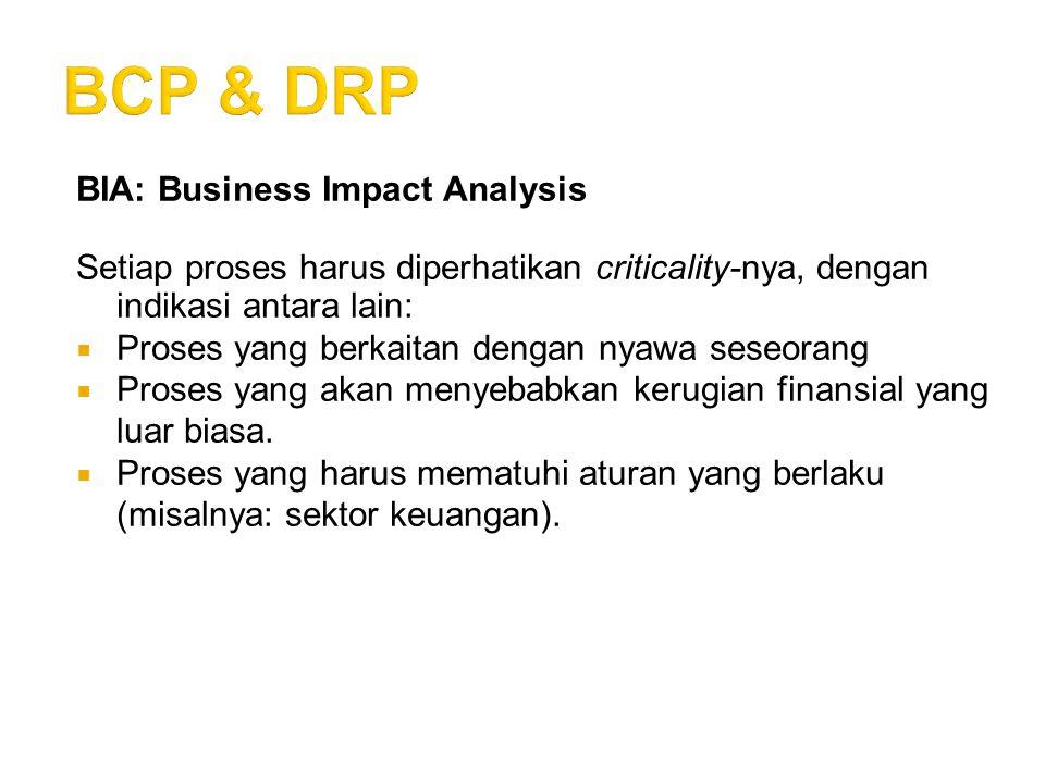 BIA: Business Impact Analysis Setiap proses harus diperhatikan criticality-nya, dengan indikasi antara lain:  Proses yang berkaitan dengan nyawa sese