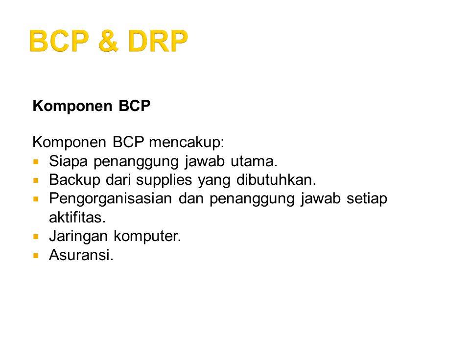 Komponen BCP Komponen BCP mencakup:  Siapa penanggung jawab utama.  Backup dari supplies yang dibutuhkan.  Pengorganisasian dan penanggung jawab se