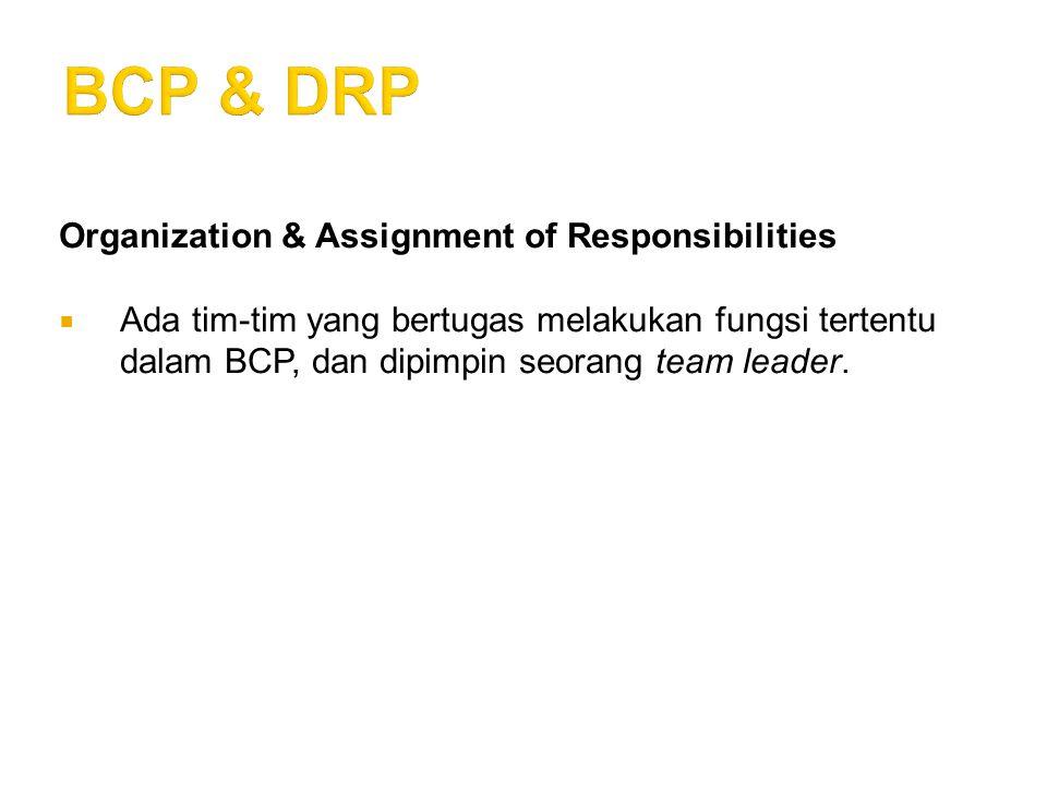 Organization & Assignment of Responsibilities  Ada tim-tim yang bertugas melakukan fungsi tertentu dalam BCP, dan dipimpin seorang team leader.