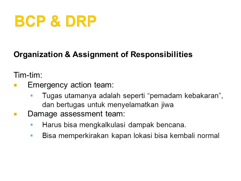 Organization & Assignment of Responsibilities Tim-tim:  Emergency action team:  Tugas utamanya adalah seperti pemadam kebakaran , dan bertugas untuk menyelamatkan jiwa  Damage assessment team:  Harus bisa mengkalkulasi dampak bencana.