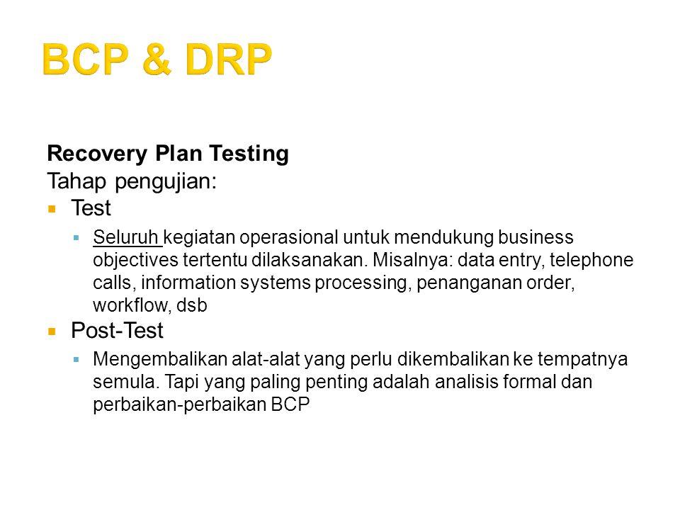 Recovery Plan Testing Tahap pengujian:  Test  Seluruh kegiatan operasional untuk mendukung business objectives tertentu dilaksanakan. Misalnya: data