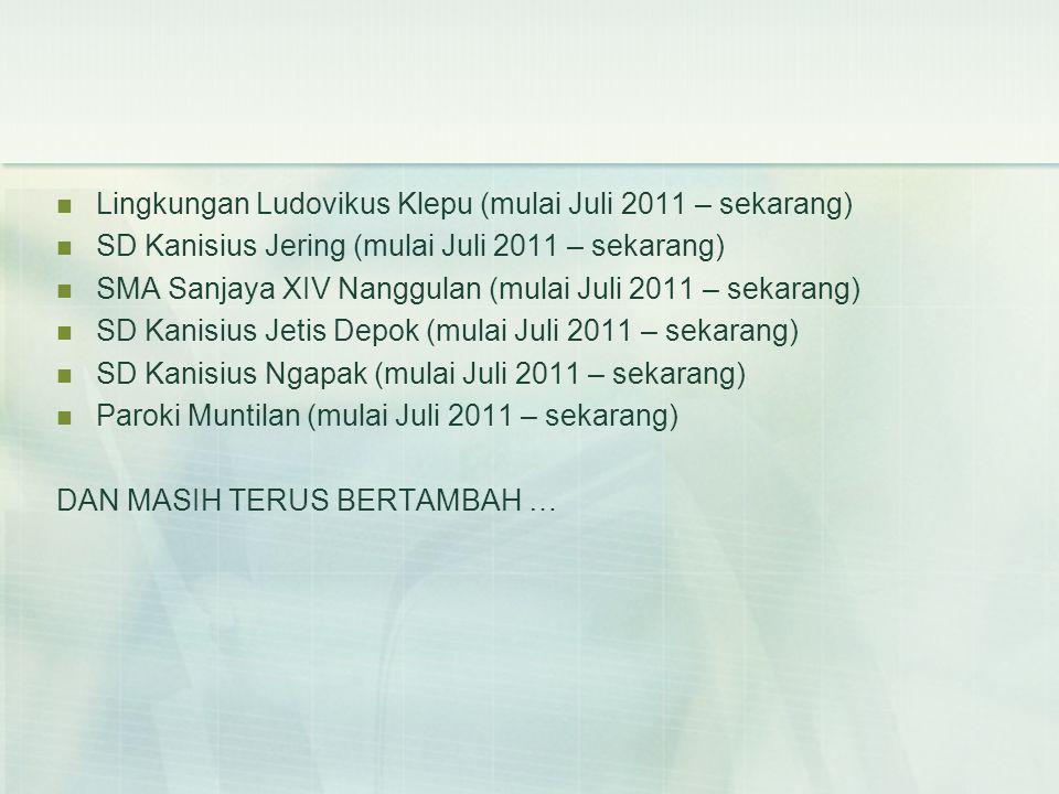  Lingkungan Ludovikus Klepu (mulai Juli 2011 – sekarang)  SD Kanisius Jering (mulai Juli 2011 – sekarang)  SMA Sanjaya XIV Nanggulan (mulai Juli 2011 – sekarang)  SD Kanisius Jetis Depok (mulai Juli 2011 – sekarang)  SD Kanisius Ngapak (mulai Juli 2011 – sekarang)  Paroki Muntilan (mulai Juli 2011 – sekarang) DAN MASIH TERUS BERTAMBAH …