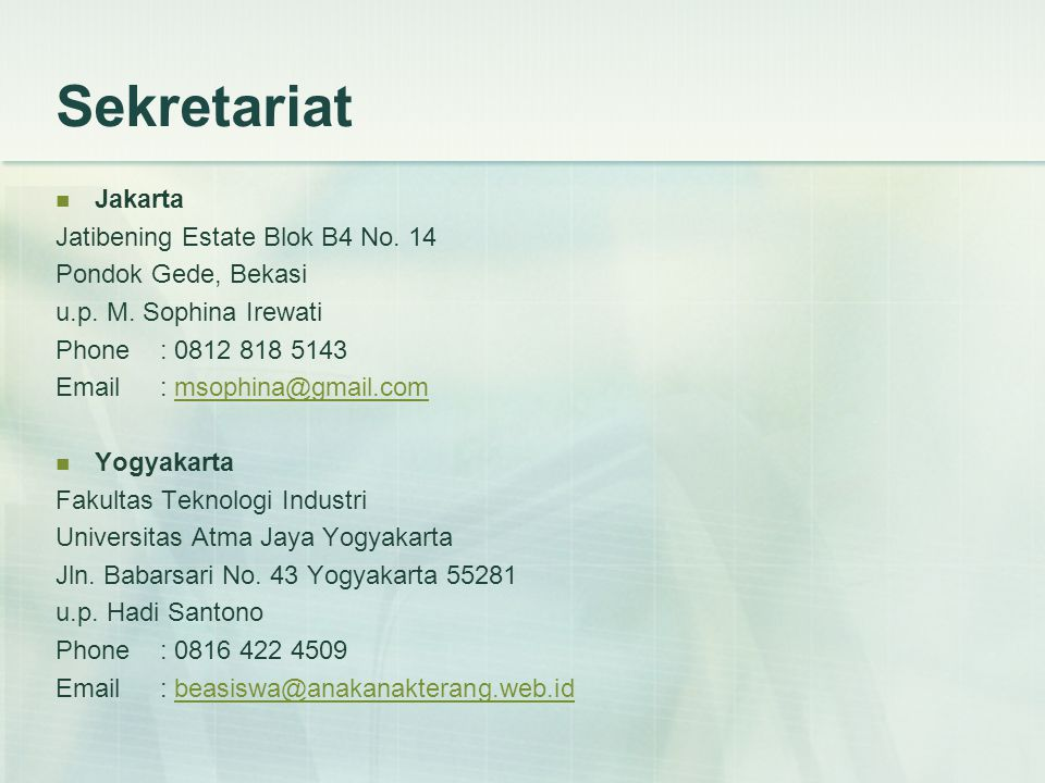 Sekretariat  Jakarta Jatibening Estate Blok B4 No.