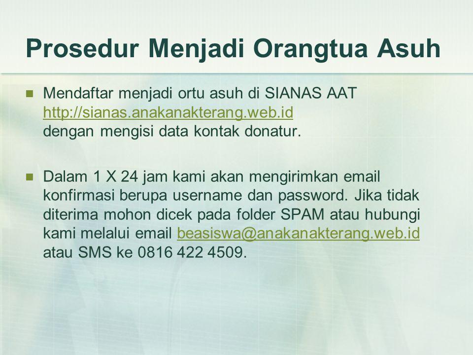Prosedur Menjadi Orangtua Asuh  Mendaftar menjadi ortu asuh di SIANAS AAT http://sianas.anakanakterang.web.id dengan mengisi data kontak donatur.