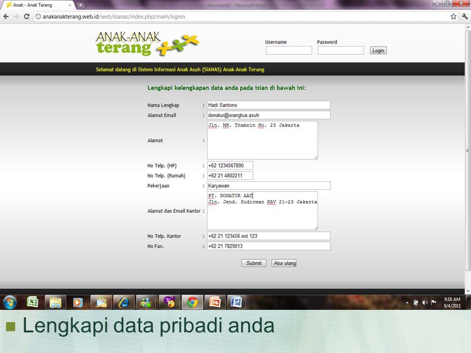  Lengkapi data pribadi anda