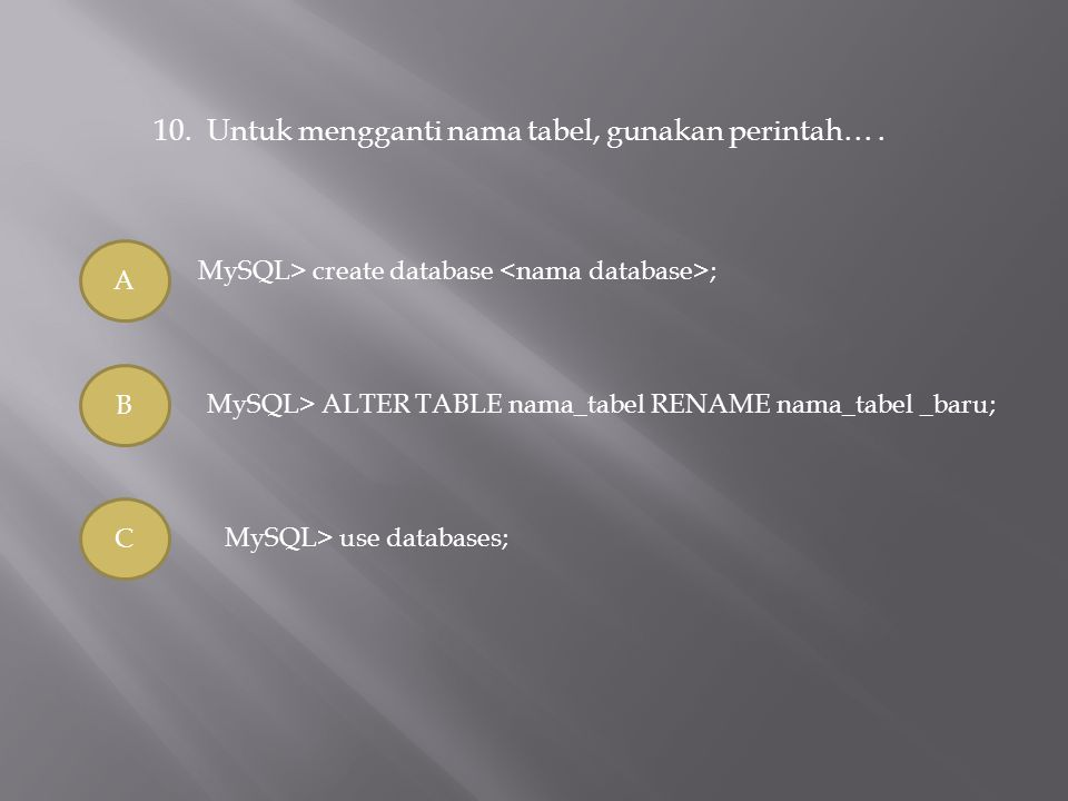10.Untuk mengganti nama tabel, gunakan perintah…. A B C MySQL> create database ; MySQL> ALTER TABLE nama_tabel RENAME nama_tabel _baru; MySQL> use dat