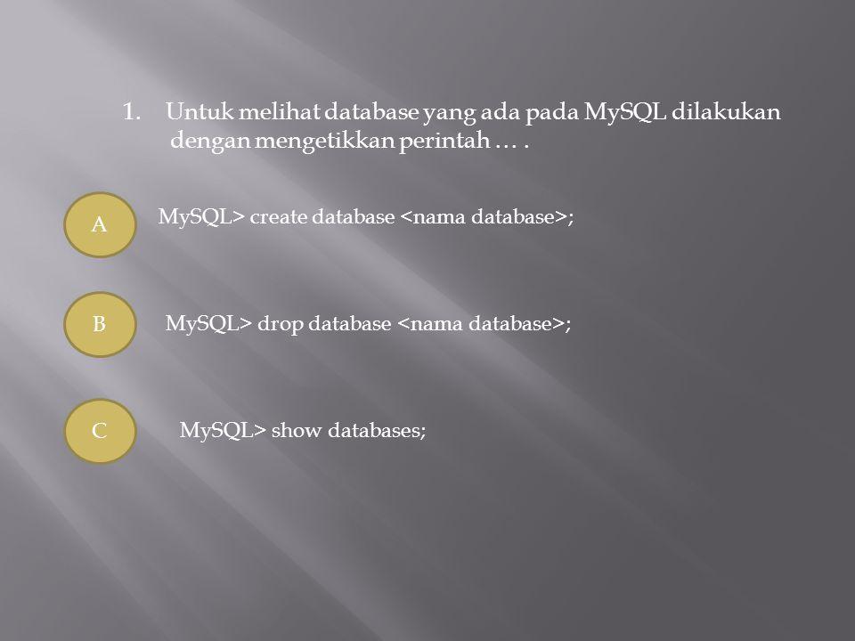 1.Untuk melihat database yang ada pada MySQL dilakukan dengan mengetikkan perintah …. A B C MySQL> create database ; MySQL> drop database ; MySQL> sho