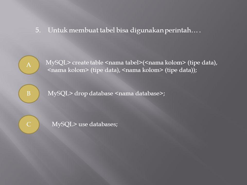 5.Untuk membuat tabel bisa digunakan perintah…. A B C MySQL> create table ( (tipe data), (tipe data), (tipe data)); MySQL> drop database ; MySQL> use